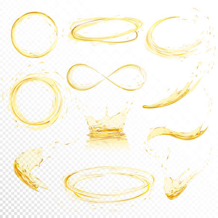 석유에 격리 된 흰색 배경 튀는. 그라디언트 메쉬 만든 드롭 현실적인 노란색 액체. 벡터 일러스트 레이 션 설정합니다. 일러스트
