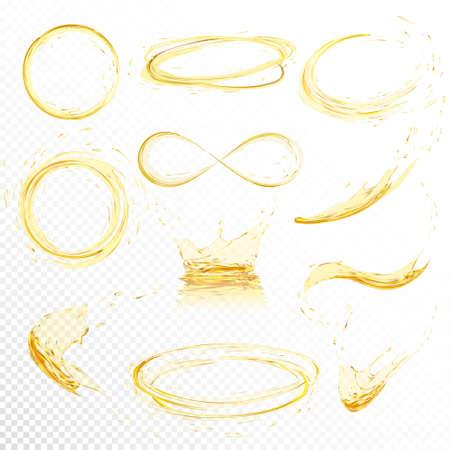 Oliespetters geïsoleerd op witte achtergrond. Realistische gele vloeistof met druppel gemaakt met verloopnet. Vector illustratie set.