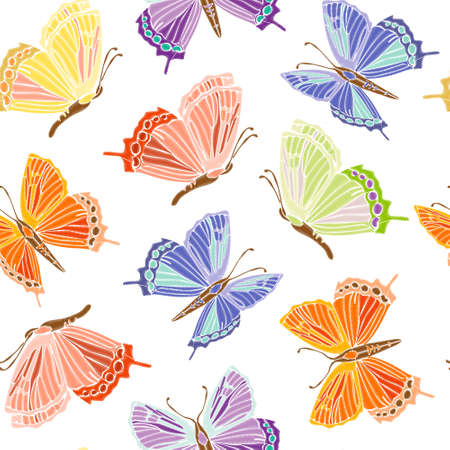 Vintage Seamless pattern: bird, butterfly isolated on background. Imitation of embroidery. Hand drawn vector illustration, separated editable elements.