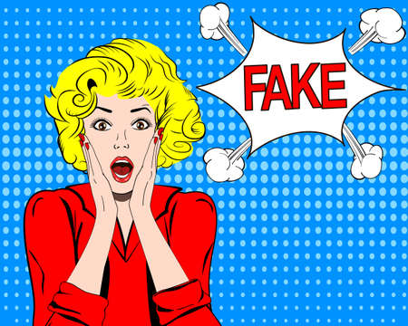 defuse: Fake news, HOAX concept. Young blonde woman shocked and surprised. pop art illustration. Illustration
