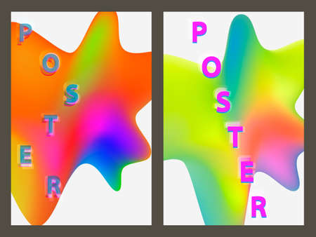 Poster with neon geometric pattern. Holographic colorful graphic backgrounds. Retro banner, flyer, leaflet, poster. Vector template.