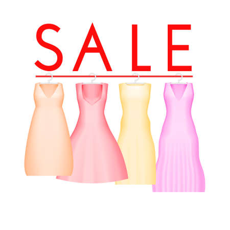 Summer sale background with vivid party dress.
