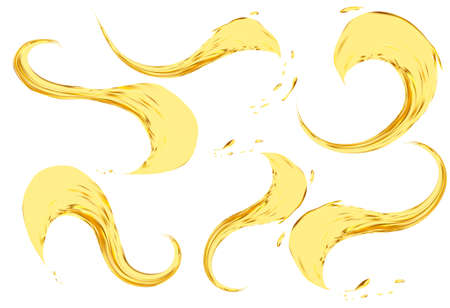 saturated color: Oil splashing isolated on white background.