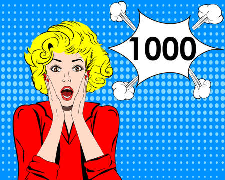 Thousand followers online social media achievement. Surprised girl. pop art style Illustration