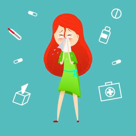Sick girl. Allergy kid sneezing. Vector cartoon illustration. ill child with flu or virus. Health care concept. Running noise symptom. infographic poster. Season allergy.