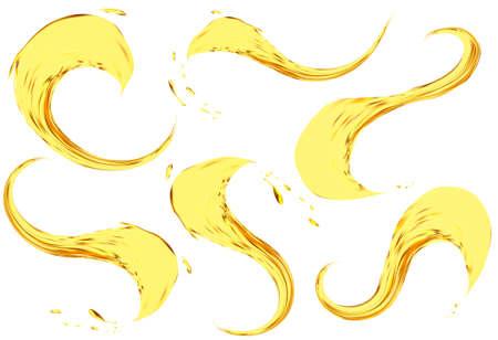 Oil splashing isolated on white background.