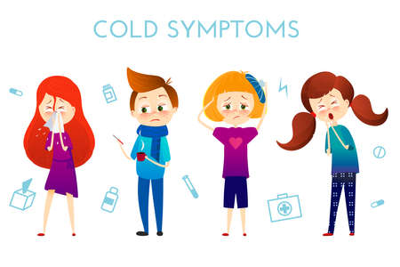 influenza: Sick child with fever, illness . Boy and girl with sneeze, high temperature, sore throat, heat, cough, headache, Vector illustration cartoon style. Sickness child with disease. flu cold symptoms