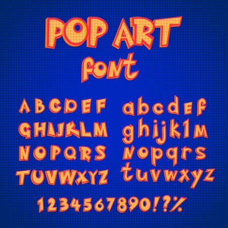 Pop art comics style alphabet collection set. capital and small letters with numbers. vector abc in retro style