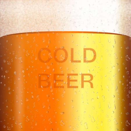 マグカップに透明な泡とビール。黄色液体 3 d リアルなベクター イラストです。凝縮と冷たいビール テクスチャ  イラスト・ベクター素材