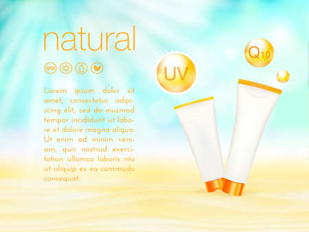 UV protection. Sunblock ads template, sunscreen and sunbath cosmetic products design. 3d vector illustration. Sunny beach background. moisturizer cream package.