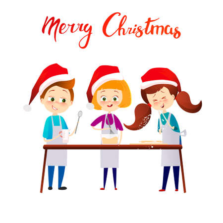 Merry Christmas Happy New Year Kids cooking xmas dinner. Cartoon vector characters. Cute childs in red holiday claus hats making gingerbread. Text and lettering. Banco de Imagens