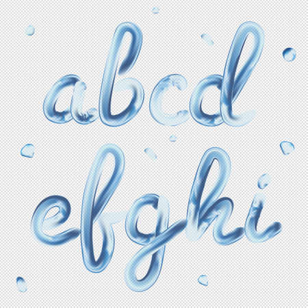 3D フォント。透明文字 a, b, c, d, e, f, g, h, i. リアルな水のペイントレンダリングタイポグラフィベクトル図。  イラスト・ベクター素材