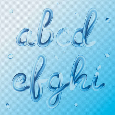 3d font. Letters a, b, c, d, e, f, g, h, i. Realistic water paint render typography vector illustration. Transparent text. Vettoriali
