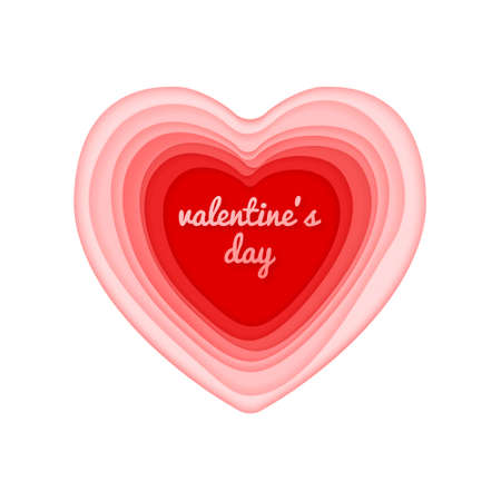 Valentines day vector card with cut paper design heart. isolated on white. Ilustração