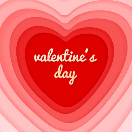 Valentines day vector card with cut paper design heart.