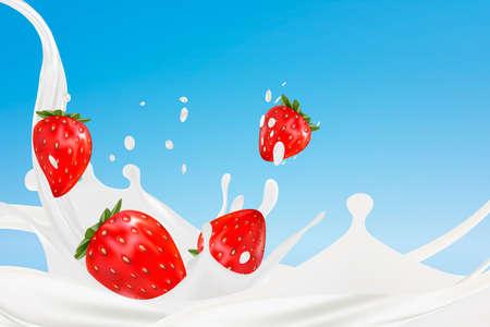 イチゴのミルクスプラッシュ。メッシュによって作成されたリアルなベクトル 3D イラストレーション。3D レンダリング。