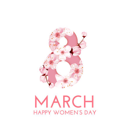 Happy Womens Day greeting card template  イラスト・ベクター素材