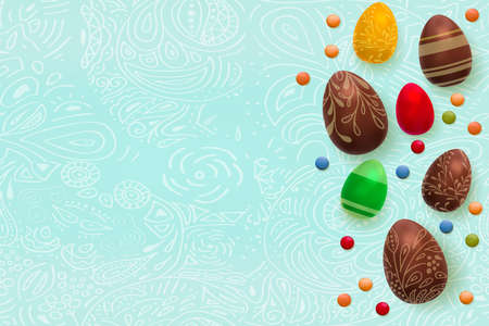 Easter background. Template vector card with realistic 3d render eggs, candies. Copyspace for your text. Doodles hand drawn elements pattern. Illustration