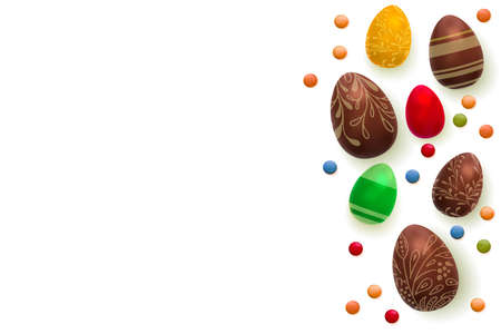 Easter background. Template vector card with realistic 3d render eggs, candies. Copyspace for your text. isolated over white.