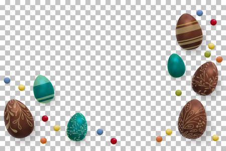 Easter background. Template vector card with realistic 3d render eggs, candies. Copyspace for your text. isolated.