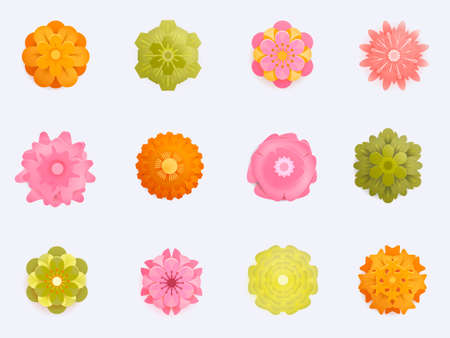Paper Flower with realistic shadow set. 3d rendering, papercut art, floral backround, botanical elements, pastel spring colors, isolated Иллюстрация