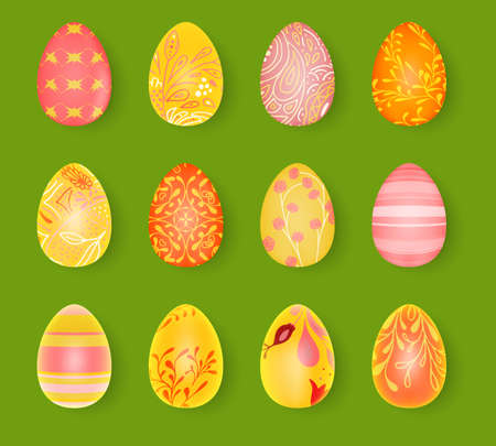 Happy Easter. Set of Easter eggs with different texture. 3d render realistic vector illustration. Spring holiday design.