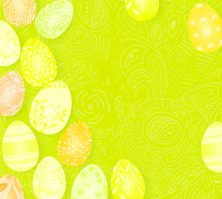 Happy Easter. Template vector card with realistic 3d render eggs, candies. Doodles hand drawn elements background.