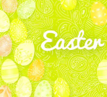 Template vector card with realistic 3d render eggs, candies. Handwriting Happy Easter. Doodles hand drawn elements background.