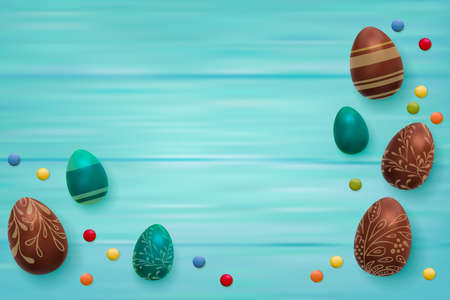 Easter composition with chocolate eggs on color wooden background, space for text. 3d render realistic vector illustration.