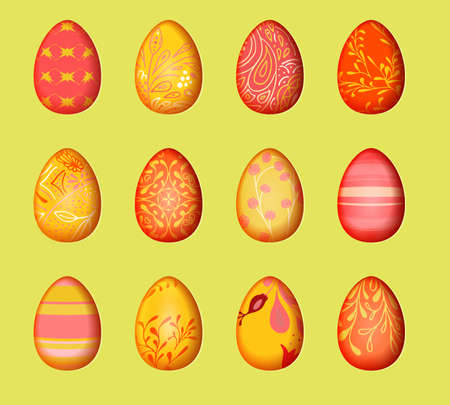 Paper with cut out effect for happy easter decorate. Eggs set design background. Isolated elements.