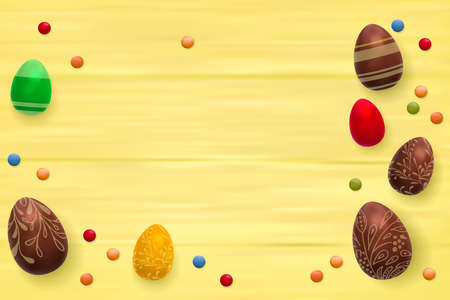 Easter composition with chocolate eggs on color wooden background, space for text. 3d render realistic vector illustration