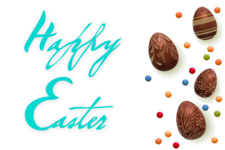 Happy Easter Handwriting text. Template vector card with realistic 3d render eggs, candies. isolated over white background