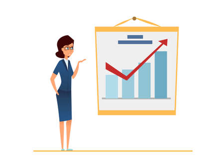 Sales increase. Income grow. Business Woman against financial graph presents business strategy success. Worker show commercial plan and future return. Cartoon vector illustration