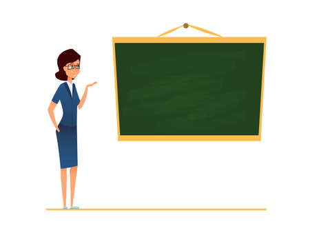 Teacher, mentor or coach standing in front of blank school blackboard. vector illustration. Female trainer in glasses pointing and showing or present lecture. Stock Illustratie