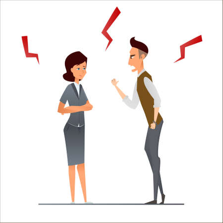 Couple business man argument, vector illustration cartoon