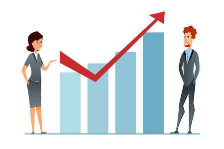 Sales increase. Income grow. Business Woman and businceeman against financial graph presents business strategy success.