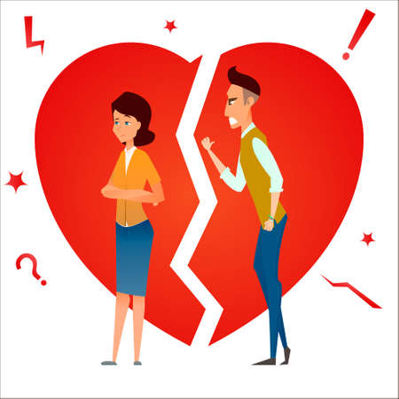 Divorce. Fight and argue. Two people quarrel. Family conflict. Break up relationship. Married couple man and woman angry, sad against broken heart.. Cartoon characters. Vector illustration. Stockfoto