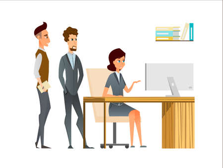 Manager and employees discuss in the office. Business cartoon characters as a team in the corporate environment. Young woman and man in semi-casual suits.