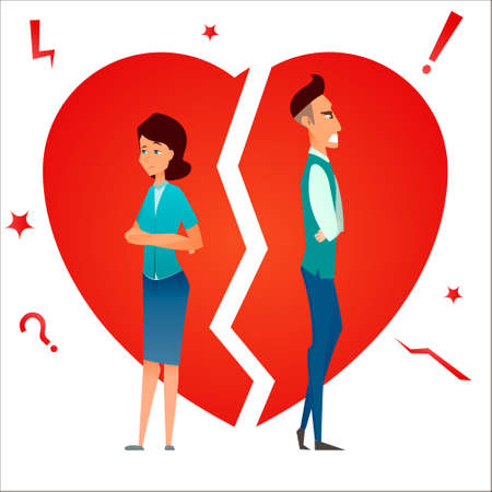 Divorce. Family conflict. Break up relationship. Married couple man and woman angry and sad against broken heart. Cartoon characters. Vector illustration