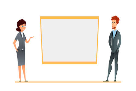 business conference presentation, team training. Cartoon characters in the corporate environment show blank whiteboard or white office flipchart. Young woman, man in semi-casual suits. vector