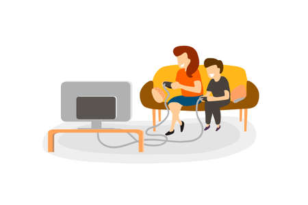 Family play video game at home. Small boy and girl are sitting on the couch together in front of TV