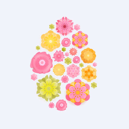 Easter card with paper cut spring flowers in egg shape frame isolated on white background. Vector illustration. Place for your text. Green, Yellow, pik