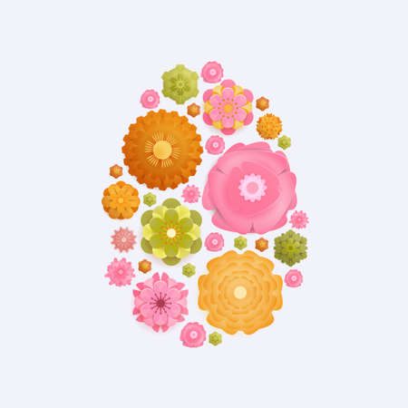 Easter card with paper cut spring flowers in egg shape frame isolated on white background. Vector illustration. Place for your text. Green, Yellow, pink