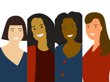 Flat minimalistic vector of woman group: different ethnicity- Caucasian, African, Asian. Diversity concept for 8 International Woman Day. Close-up female portrait Ilustração
