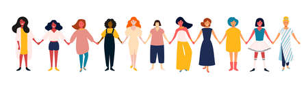 Diverse female group. African, mexican, indian, european women team. Girls power. Group of young happy smiling friends, standing together, symbol of feminists. Cartoon characters isolated, vector. Иллюстрация