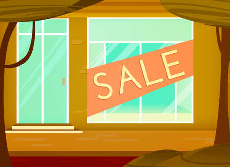 shopping sale background. Cartoon style. Retail store window with sale sign. Vector illustration.