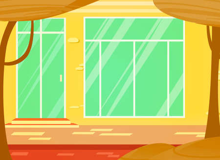 Vector cartoon illustration of window store and door. an urban landscape.