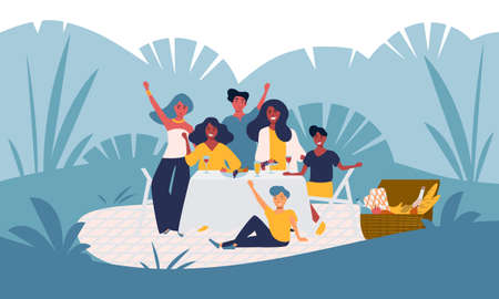 Happy young family has fun on a picnic in the park, garden party outside, backyard celebration. Smiling people group with children. Summer nature outdoor leisure activity. Flat vector isolated.