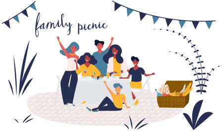 Happy young family has fun on a picnic in the park. Smiling group of people with children sitting, eating a food together, resting in the nature. Summer outdoor leisure activity. Flat vector isolated. Иллюстрация