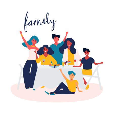 Family celebration, garden party outside in the backyard. Happy young smiling group of people with children have fun. Picnic in the park together. Summer outdoor leisure activity. Flat vector isolated